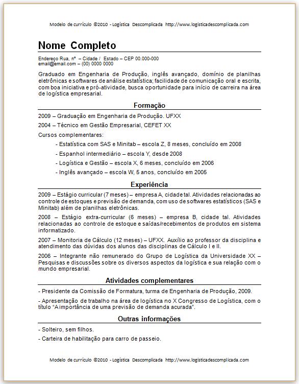 formato curriculum. Modelo De Curriculum Vitae